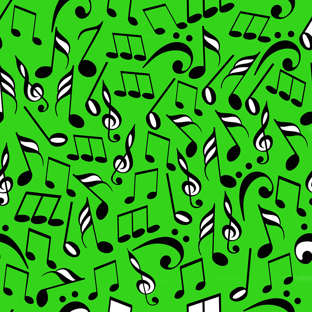 lively green musical notes