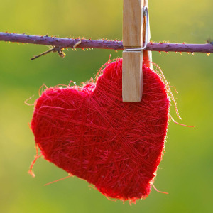 heart on clothesline