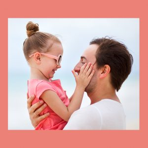 girl and father in closest moment of happiness