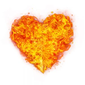 Heart on fire with bold love
