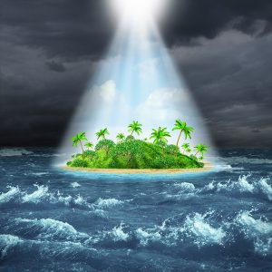 island in stormy sea with beams of mercy