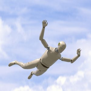 Crazy crash test dummy goes sky diving without a parachute.