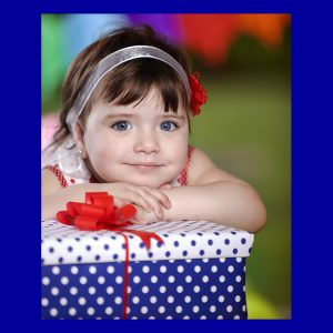 Girl celebrating mothers day with a gift