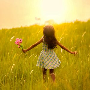 Child in sunny field