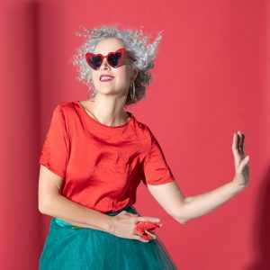 Dance of woman in red blouse