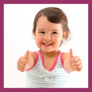 Toddler giving thumbs up encouragement