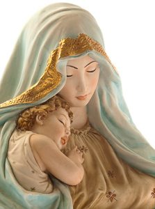 Blessed Mother cuddling Baby Jesus
