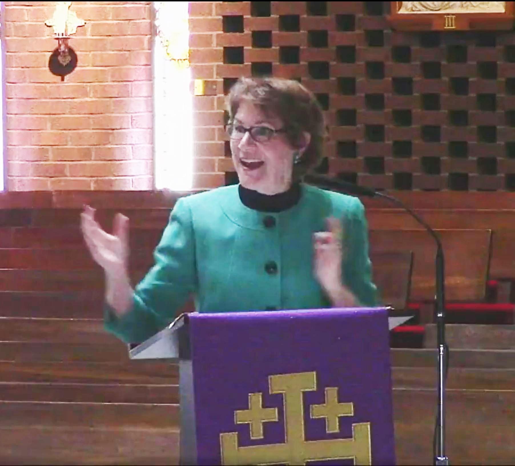 Rose speaking at women's retreat