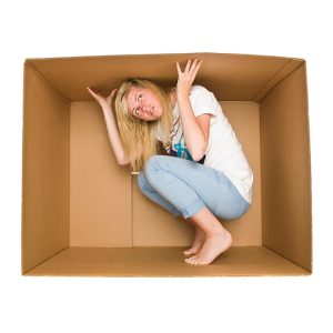Woman cardboard box