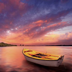 Rowboat in calm water
