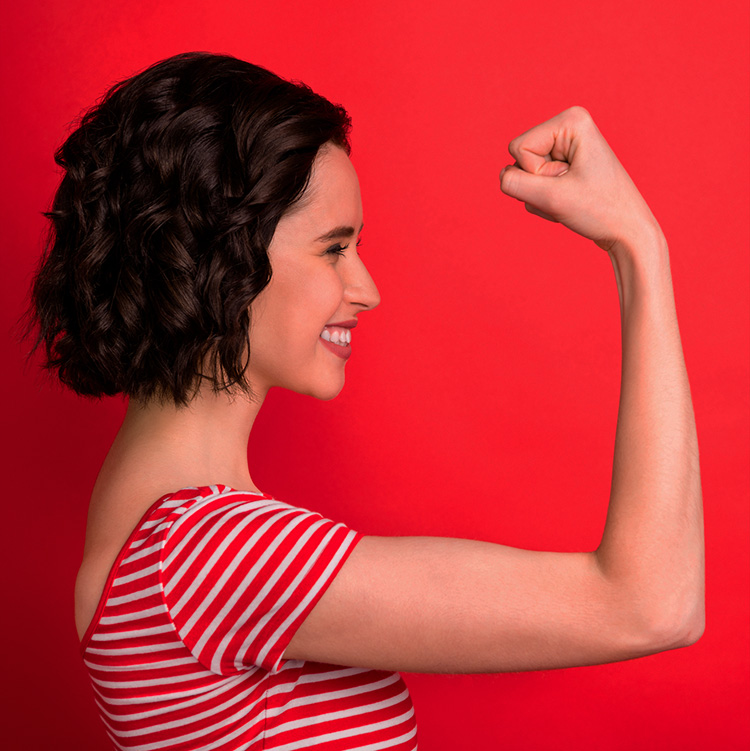 Woman bragging about her muscles