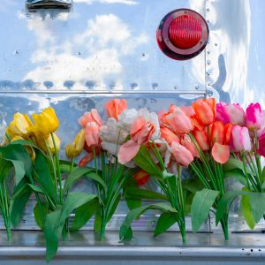 Airstream trailer with flowers