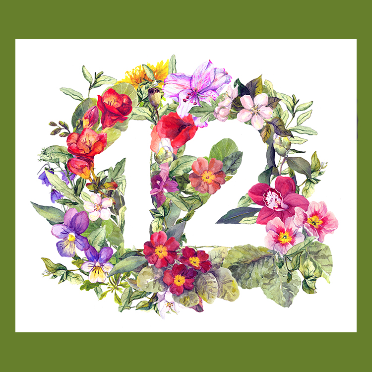 Number 12 in flowers